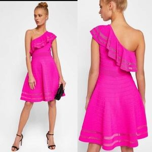 Ted Baker Streena neon pink knit 1 shoulder dress